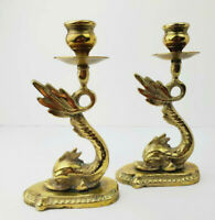 Vintage Hollywood Regency Style Brass Dolphin Candle Holders- Pair of 2