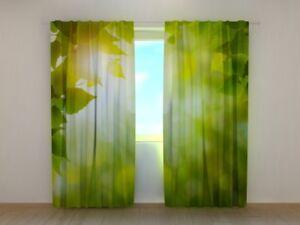 Printed Curtain Summer Sun Wellmira Ready Made 3D Living Room Green Decor