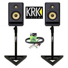 "KRK Rokit RP5 G4 Active 5"" DJ Studio Monitor Speakers inc Gorilla Stands & Cable"