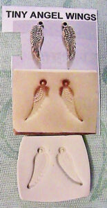 """TINY PAIR OF ANGEL WINGS 5/8"""" Earrings~Necklace~Hard MOLDS~*RARE~Fimo~Clay~soap"""