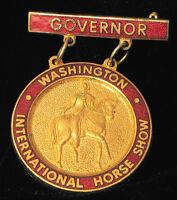 VINTAGE WASHINGTON INTERNATIONAL HORSE SHOW GOVERNOR ENAMEL BRASS BROOCH MEDAL