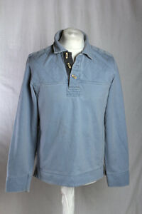 Fat Face Retro Toggle Neck Vintage Washed Rugby Style Pullover Blue Size S VGC!