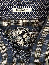 Bugatchi Uomo Mens Large Blue houndstooth Long Sleeve Shirt Shaped Fit Flip Cuff