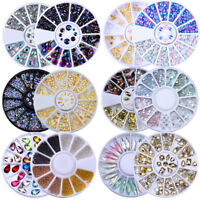 3D Nail Art Tips Mixed Bead Decoration Wheel Rhinestones Glitter DIY Manicure