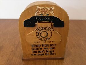 "Vintage Wooden Telephone Money Box ""Feed the Kitty"" #459"