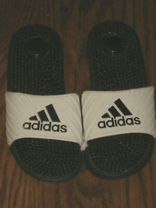 womens slippers sandals shoes 6.5 7 slide scuff Adidas white massaging footbed