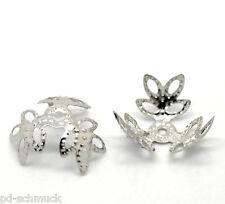 PD: 300 Silberfarbe Blume Perlen Beads Ende Kappen 14x14mm B20876