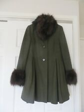 Gorgeous dark green wool blend swing-coat Topshop faux fur cuffs & collar size 8