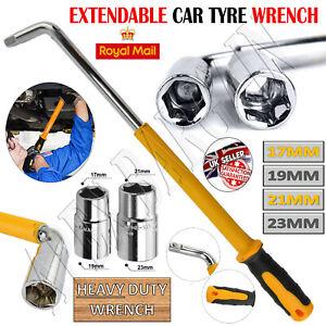 Extendable HEAVY DUTY Wheel Car 17 19 21 23mm Brace Socket Tyre Nut Wrench 6-18