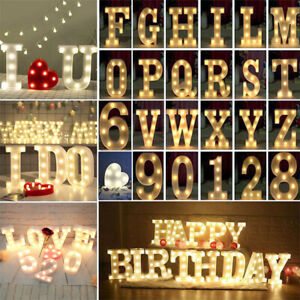 Alphabet LED Letter Lights Light Up White Plastic Letters Standing Hanging AUK j