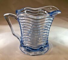 "DUNCAN & MILLER CARIBBEAN BLUE RARE 4-3/4"" TALL 16-OUNCE MILK or JUICE PITCHER!"