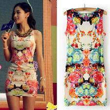 Women Summer Floral Print Sexy Sleeveless Elasticity Clubwear Party Mini Dress