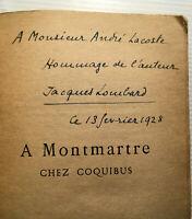 1928 JACQUES LOMBARD A MONTMARTRE CHEZ COQUIBUX *SIGNATURE* LIVRE PARIS LEMERRE
