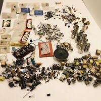Vintage Radio Tv Parts Lot Transformers Transistors Capacitors Circuit Boards