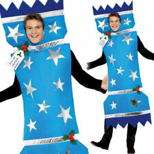 Christmas Cracker Costume Adults Blue Xmas Fancy Dress Outfit Novelty