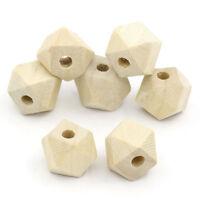 80 Stk Geometrische Polygone Holzperlen Holz Perlen Schmuck Basteln Natur 10x13