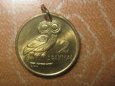 GREEK GREECE ATHENA WISDOM OWL PHOENIX NEAR MINT COIN CHARM PENDANT NECKLACE