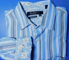 Nat Nast Men's Large L/S Button Front Shirt Blue Gray White Paisley Cuffs