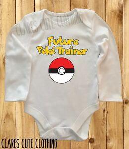 FUTURE POKE TRAINER POKEMON LONG SLEEVED BABY VEST/ GROW ROMPER BODYSUIT