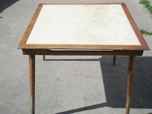 "vintage Stakmore Mid-Century Wood Card Table wi Inward Folding Wood Legs 32"" Top"