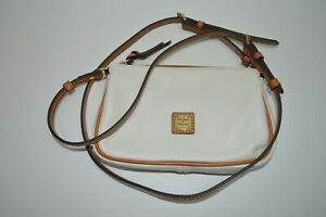Dooney & Bourke White Leather Pouchette Small Crossbody Bag