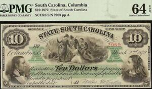 UNC 1872 $10 DOLLAR BILL LARGE SOUTH CAROLINA NOTE CURRENCY PAPER MONEY PMG 64