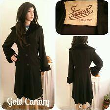 Vintage 1940s Fenwick Black Velvet Wool Princess Fit Flare Coat Chic 10 12 38