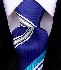 Scott Allan Mens Striped Necktie - Navy Blue/ Turqoise/Yellow Mens Tie