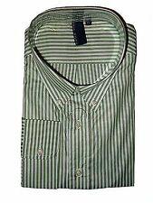 TRUE ROCK Men's Dress Shirt L White / Light Green Stripes Long Sleeves JFK124