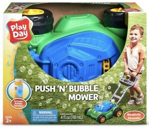 Play Day Push N Bubble Mower Lawn Toy Kids Pretend Play Yard Outdoor Outside