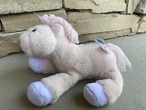 "VTG 9"" Pink Purple Pony Horse Plush Commonwealth Yarn Tail Mane Rainbow Bow"