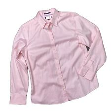 Lands' End Women's Size 12 Pink Shirt blouse No Iron Pinpoint Oxford Long Sleeve
