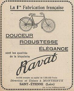 Z9847 Bicyclette Ravat - Advertising D'Epoca - 1924 Old Advertising