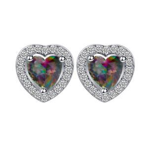 Ear Studs Earrings Heart With Zirconia Rhinestone Colour Mystik Topaz