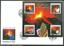 NIGER 2014 MINERALS & VOLCANOES SHEET FIRST DAY COVER