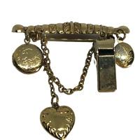 Vintage Gold Tone Steampunk Bar Brooch / Pin w/ Whistle & 2 Locket Dangles