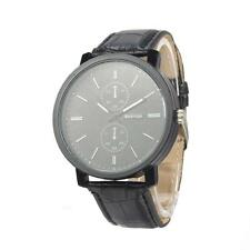 Fashion Casual Men's Quartz Analog Wristwatch PU Leather Strap Watch Black BF