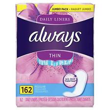 Always Thin Daily Liners, Regular, Unscented, 162 Count, NEW