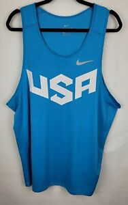 Nike Mens Dri Fit Size XXL Blue Breathable Workout Fitness Sleeveless Tank Top