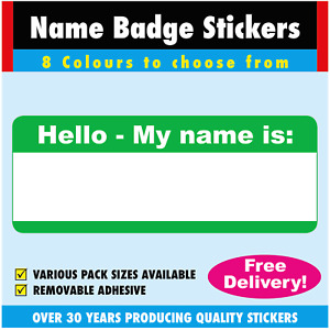 Green - Name Badge Labels / Stickers For Schools, Clubs, Churches etc