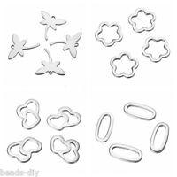 10PCS Stainless Steel Pendants For Bracelet Necklace Marking Link Findings