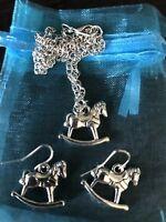 ROCKING HORSE NECKLACE & EARRING SET BN LOVELY GIFT Horse / Pony Lover