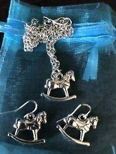 CHILDS ROCKING HORSE NECKLACE & EARRING SET BN LOVELY GIFT Horse / Pony Lover