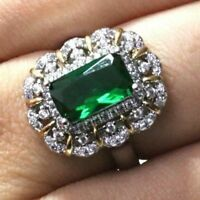 3.75 Ct Baguette Emerald Ring Women Wedding Jewelry Gift 14K White Gold Plated