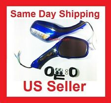 8mm Pair of Mirrors Scooter Moped Go Kart Dirt Bike Gy6 50 125 150cc 250cc Blue