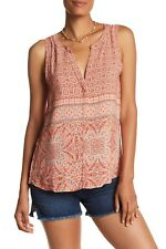 Sanctuary L Red & Blue Craft Printed Sleeveless V-Neck Top Blouse Women's Button