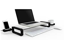 UBOARD SMART  - Tempered Glass imac Monitor Stand Shelf Built-in 3 x USB 2.0