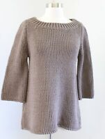 Soft Surroundings Brown 3/4 Sleeve Chunky Knit Pullover Tunic Sweater Size PS SP