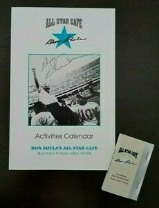 1995 LOT of 2 DON SHULA Miami Dolphins Autograph Signed Signature All Star Cafe