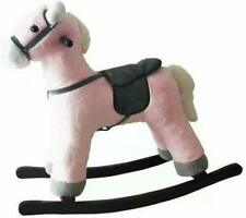 Kids Pink Toy Rocking Horse Wood Plush Wooden Riding Gift With Music Baby Ride